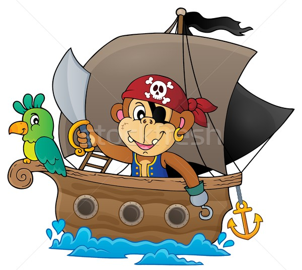 Boat with pirate monkey theme 1 Stock photo © clairev