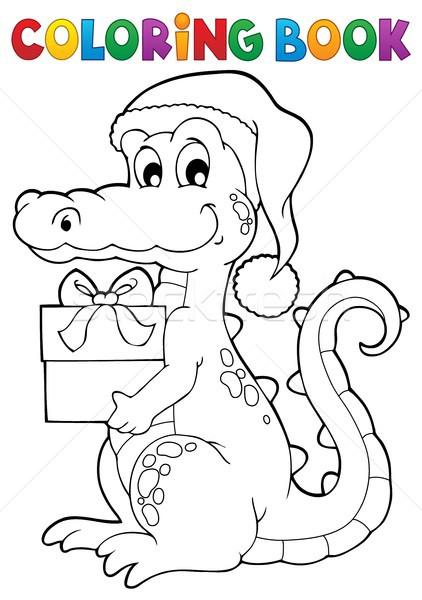 Carte de colorat Crăciun crocodil carte cutie prezenta Imagine de stoc © clairev