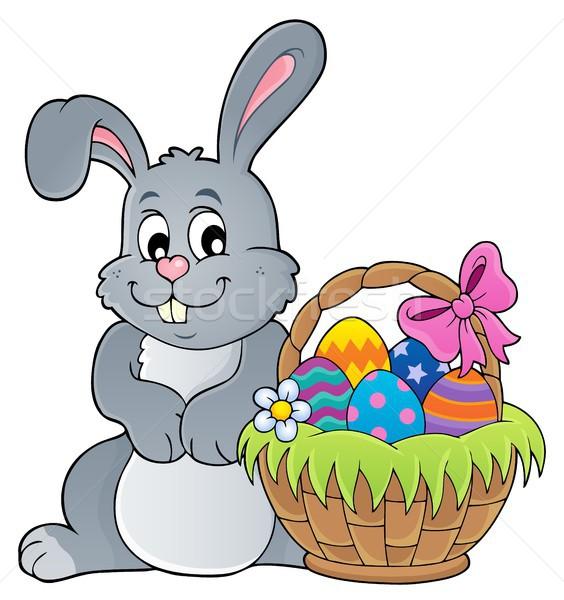 Húsvét nyúl boldog tojás művészet kosár Stock fotó © clairev