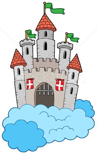 Mittelalterlichen Burg Wolken Himmel Berg Flagge Stock foto © clairev