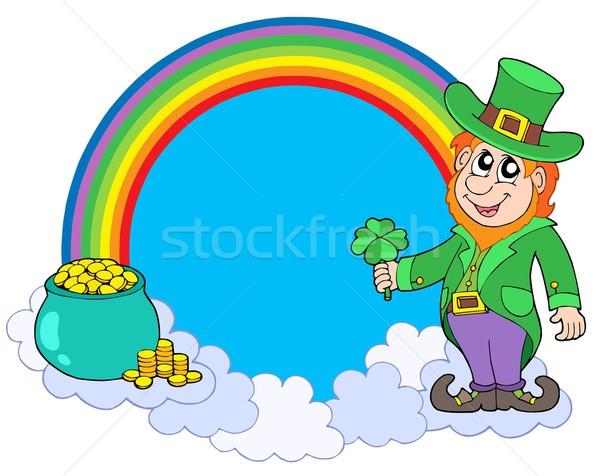 Rainbow circle with leprechaun Stock photo © clairev