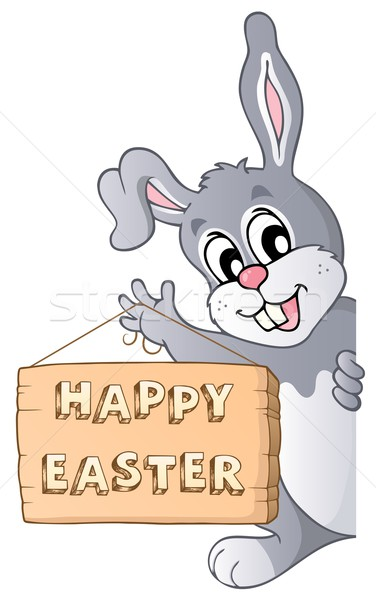Happy Easter sign and lurking bunny Stock photo © clairev
