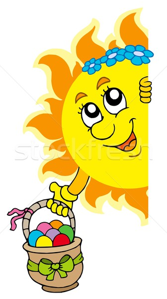 Lurking Sun with Easter eggs Stock photo © clairev
