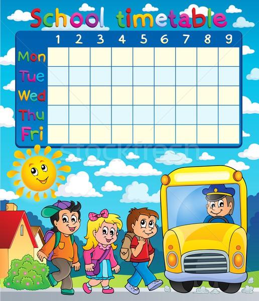 школы расписание девушки солнце ребенка таблице Сток-фото © clairev