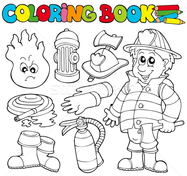 Coloring book firefighter collection Stock photo © clairev