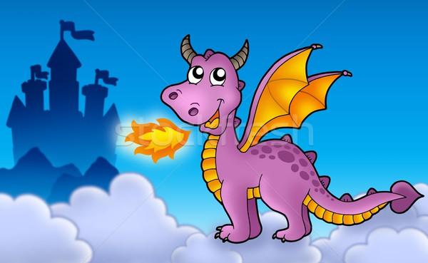 Purple dragon with castle Stock photo © clairev