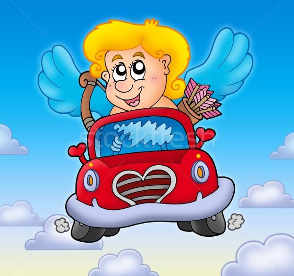 Piros autó égbolt szín illusztráció gyermek Stock fotó © clairev