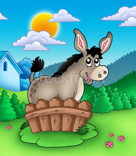 Cute donkey behind fence Stock photo © clairev