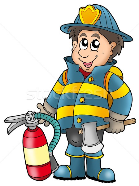 Fireman holding fire extinguisher Stock photo © clairev
