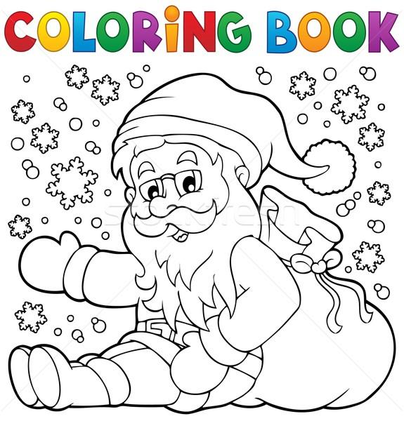 Boyama Kitabı Noel Baba Kar Kitap Boya Sanat Vektör
