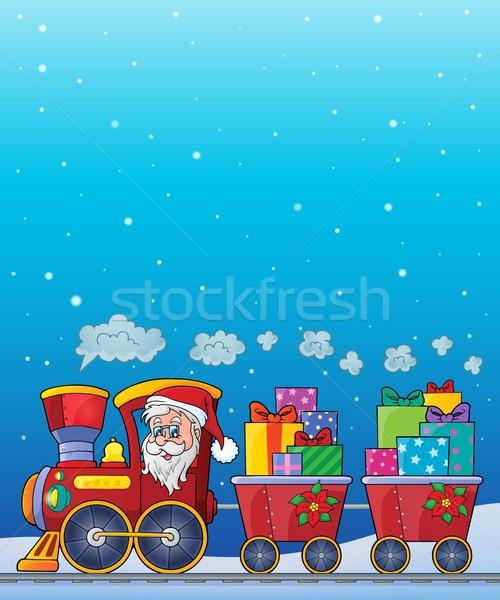 Karácsony vonat kép arc hó ajándék Stock fotó © clairev