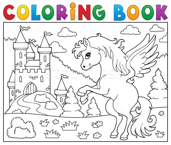 塗り絵の本 城 図書 建物 馬 塗料 ストックフォト © clairev