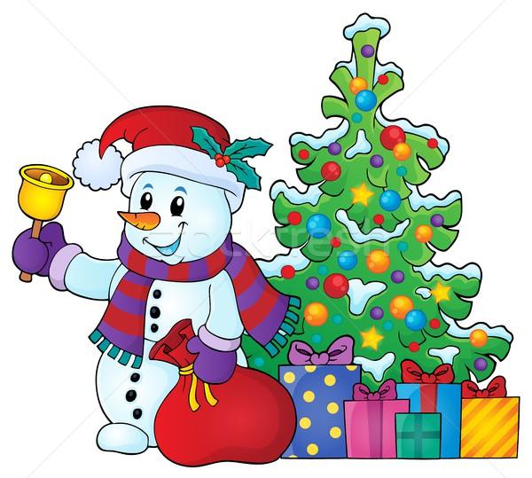 Natal boneco de neve tópico imagem neve caixa Foto stock © clairev