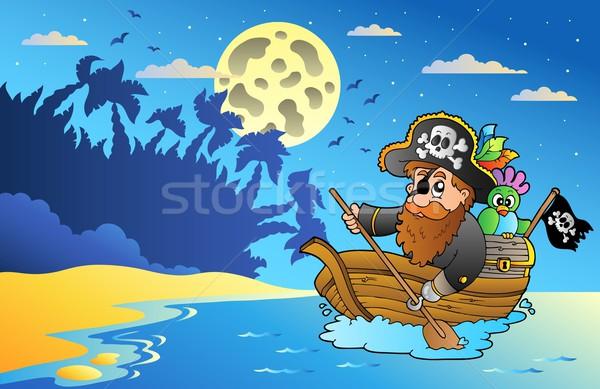 Nuit marin pirate bateau plage ciel Photo stock © clairev