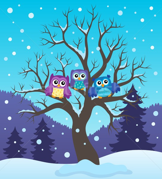 Stylized owls on tree theme image 2 Stock photo © clairev