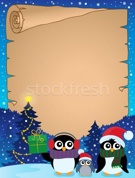Stylized Christmas penguins parchment 2 Stock photo © clairev