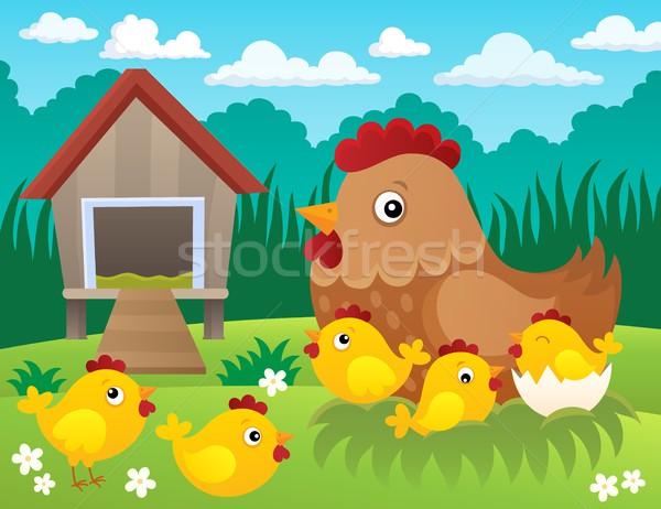 куриные тема изображение весны трава лет Сток-фото © clairev