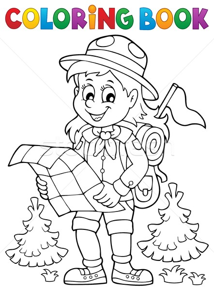 Coloring book scout girl theme 2 Stock photo © clairev