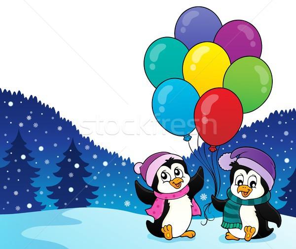Heureux fête image art hiver oiseaux Photo stock © clairev
