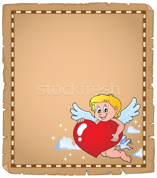 Cupid holding stylized heart parchment 2 Stock photo © clairev