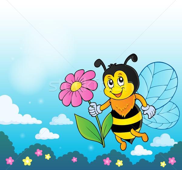 Boldog méh tart virág természet művészet Stock fotó © clairev