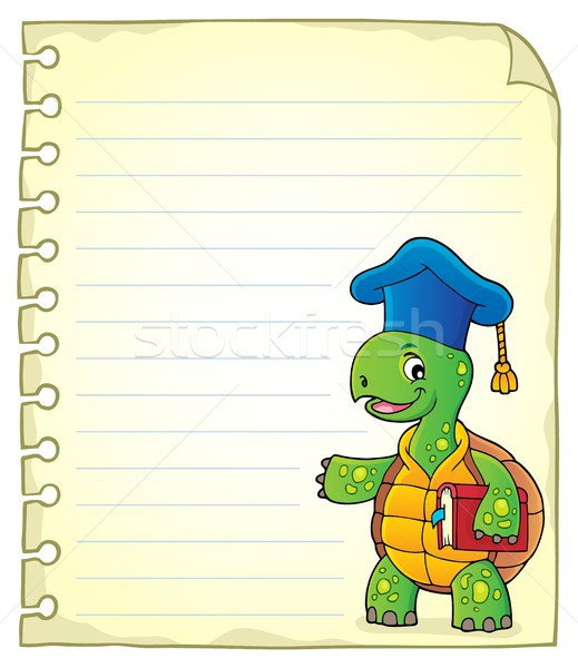 Notepad page with turtle teacher Stock photo © clairev