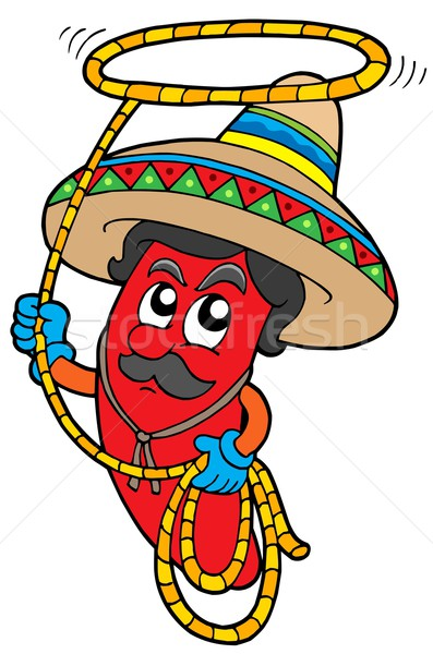 Cartoon Mexican chilli with lasso Stock photo © clairev