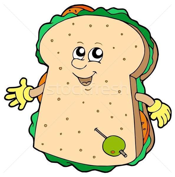 Cartoon сэндвич белый рук продовольствие стороны Сток-фото © clairev