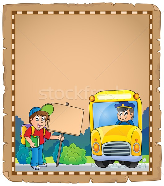 Parchment with school bus 3 Stock photo © clairev