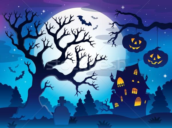 Foto stock: Assustador · árvore · imagem · céu · casa · lua