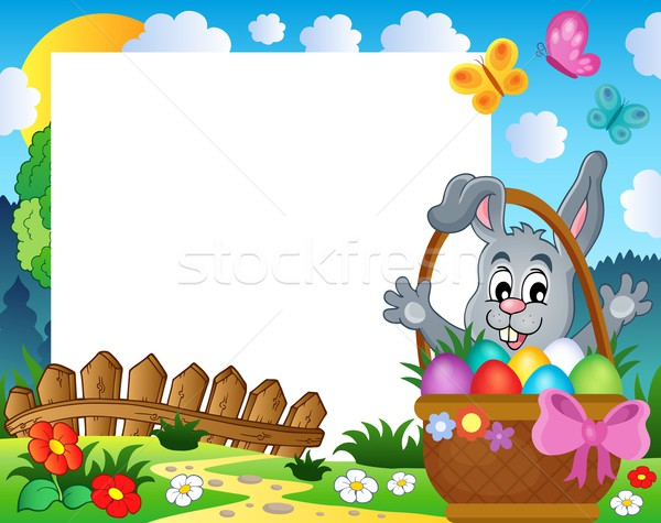 Frame with Easter rabbit theme 3 Stock photo © clairev