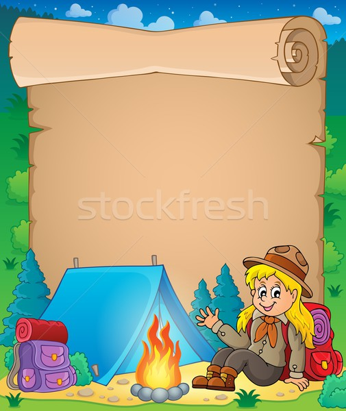 Parchment with scout girl theme 1 Stock photo © clairev