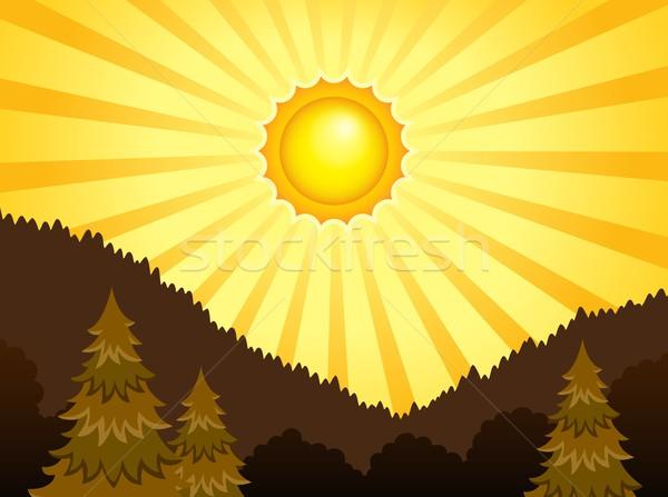 Photo stock: Résumé · ensoleillée · paysage · forêt · fond · arbres