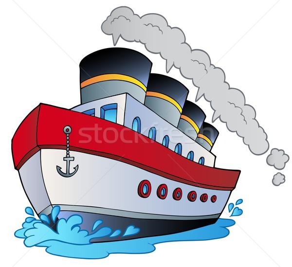 Duży cartoon parowiec ocean podróży łodzi Zdjęcia stock © clairev