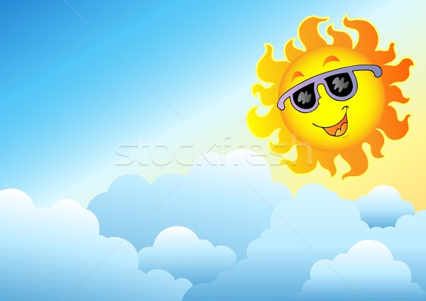 Cloudy sky with cartoon Sun Stock photo © clairev
