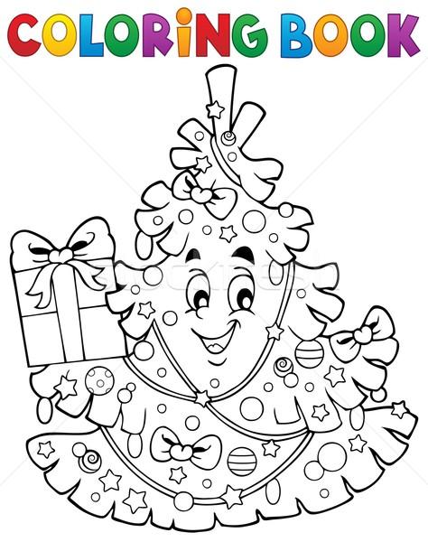 Kifestőkönyv karácsonyfa téma fa könyv arc Stock fotó © clairev