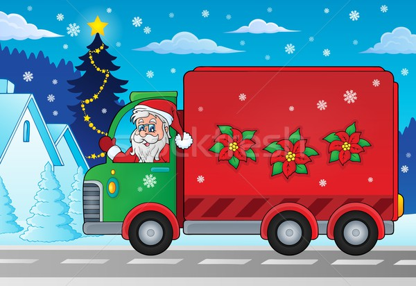 Christmas theme delivery car image 2 Stock photo © clairev