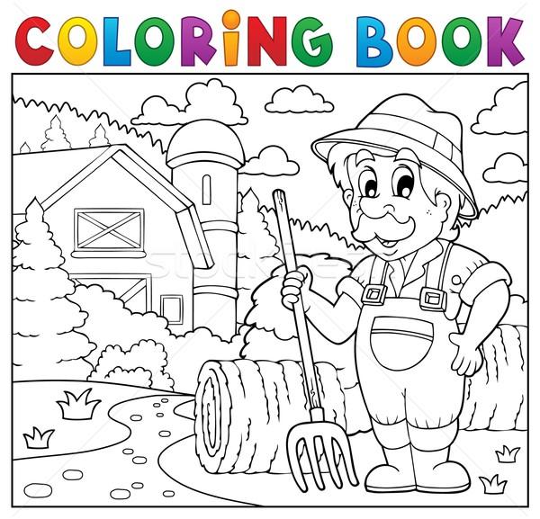 Coloring book farmer near farmhouse 2 Stock photo © clairev