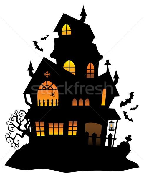 Kisértetjárta ház sziluett kép fény terv Stock fotó © clairev