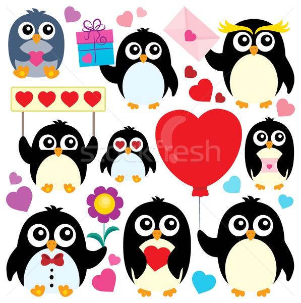 Valentine penguins theme collection 1 Stock photo © clairev