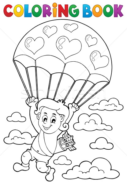 Coloring book Cupid with parachute Stock photo © clairev