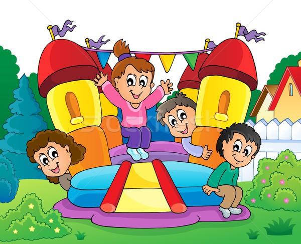Dzieci nadmuchiwane zamek dziewczyna wiosną szczęśliwy Zdjęcia stock © clairev