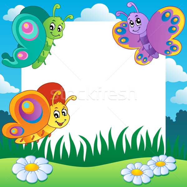 Frame with butterflies theme 1 Stock photo © clairev