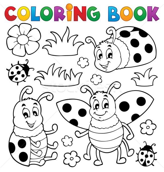 Kifestőkönyv katicabogár mosoly könyv terv festék Stock fotó © clairev