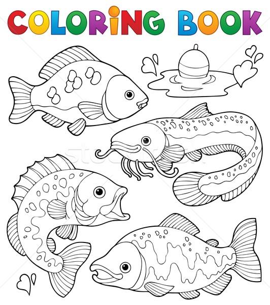 книжка-раскраска пресноводный книга рыбы краской Сток-фото © clairev