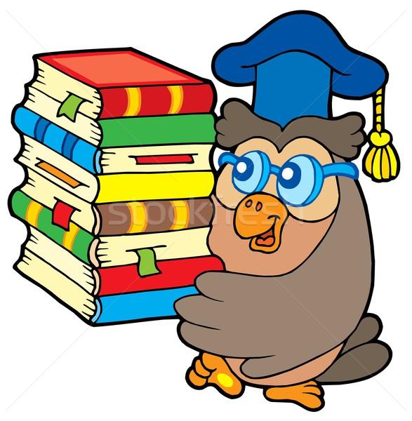 Stock photo: Owl teacher holding pile of books