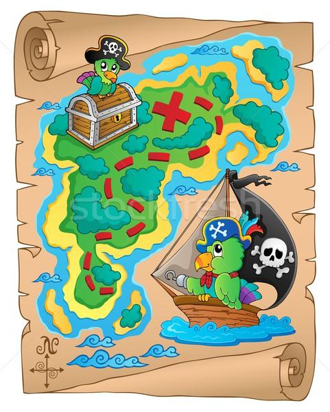 Mappa del tesoro immagine carta Ocean uccello barca Foto d'archivio © clairev