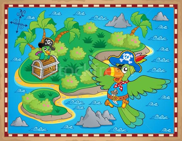Treasure harita görüntü sanat palmiye okyanus kuş Stok fotoğraf © clairev