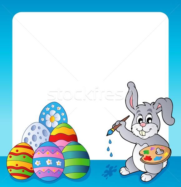 Ramki Easter bunny temat Wielkanoc wiosną królik Zdjęcia stock © clairev