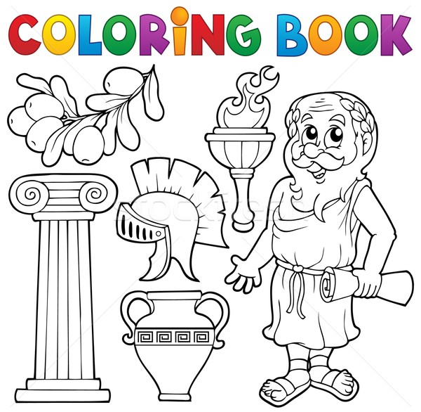 Coloring book Greek theme 1 Stock photo © clairev